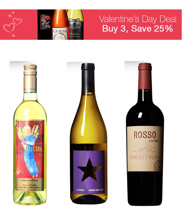 Get 25% Off 3 Wines At Amazon For Valentine's Day!