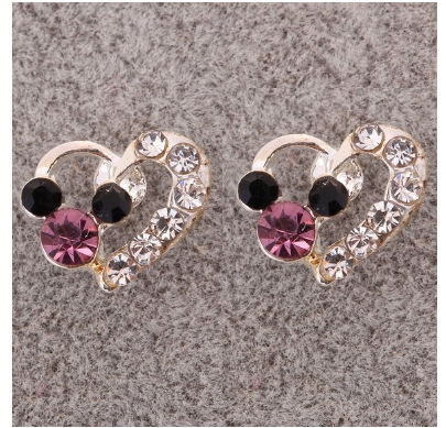 Silver Plated Mickey Mouse Crystal Heart Earrings $3.80 SHIPPED!