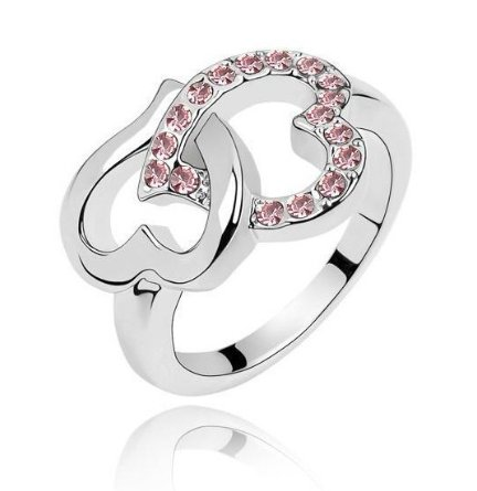 Pink Rhinestone Double Hearts Ring $2.80 + FREE Shipping!