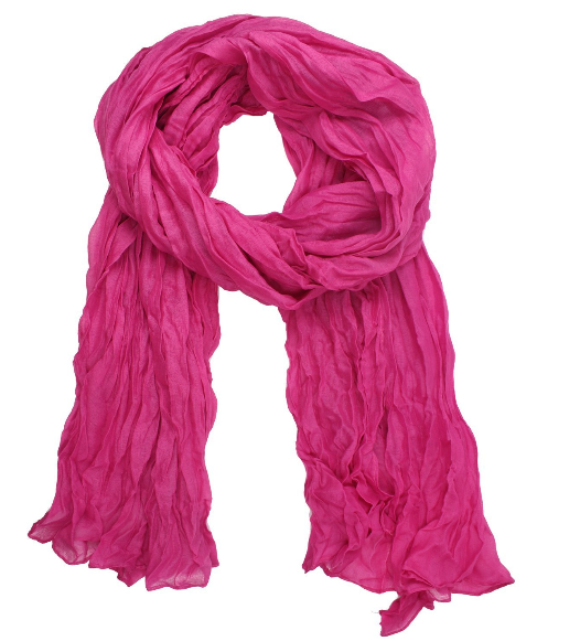 Cute Pink Crinkle Scarf Only $2.82 + Free Shipping!