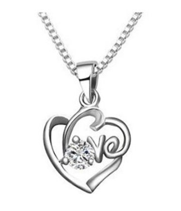 Love Heart with a Round Zircon Necklace Just $2.39 + FREE Shipping!