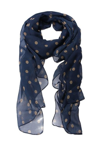 Navy Blue Polka Dot Scarf Just $2.55 + FREE Shipping!