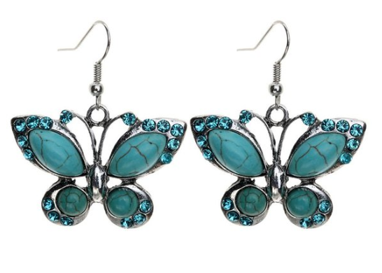 Tibetan Silver & Turquoise Butterfly Earrings Only $2.69 + FREE Shipping!