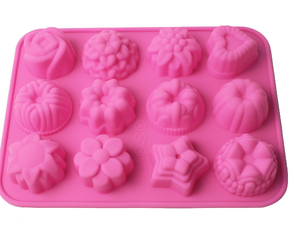 12 Cavity Flowers Hearts Stars Silicone Mold Pan Only $3.59 + FREE Shipping!