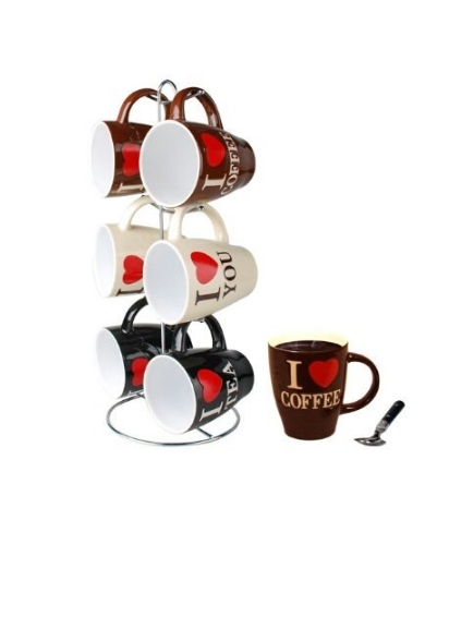 6-Piece I Love Coffee Mugs + Tree Stand ONLY $9.99 + FREE Prime Shipping!