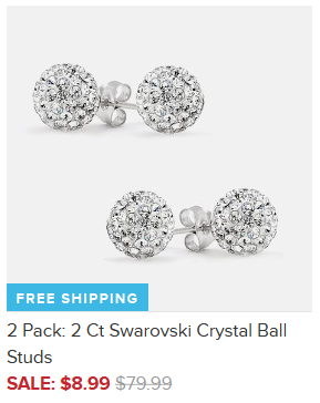 2 Pack: 2 Ct Swarovski Crystal Ball Studs Only $8.99 + FREE Shipping (Reg. $80)!
