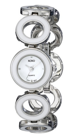 XOXO Silver-Tone and White Enamel Watch Only $14.91!