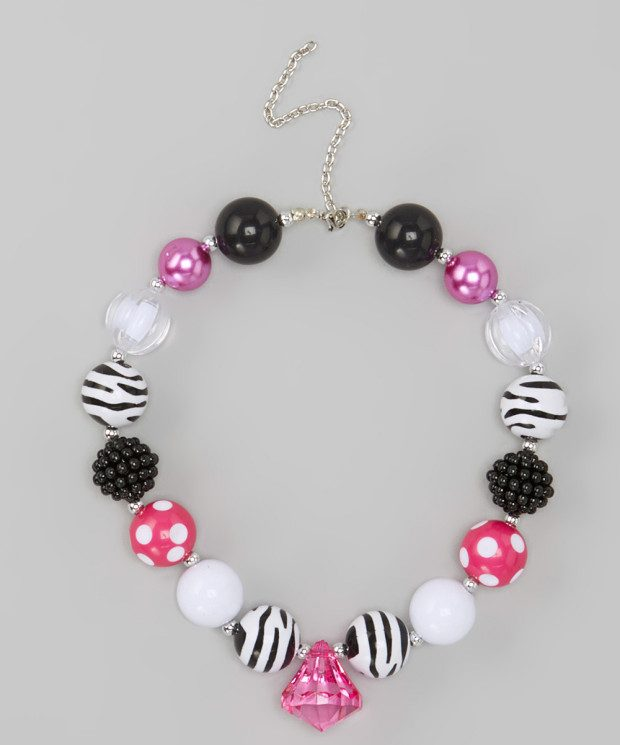 Hot Pink Zebra Necklace Only $10.99!