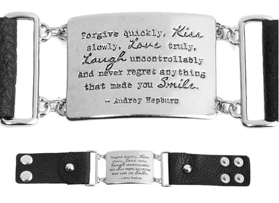 Silver & Black Leather Audrey Hepburn 'Kiss' Quote Cuff Only $22.99!