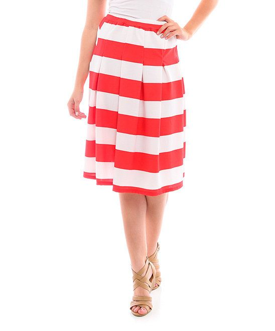 Red & White Stripe Pleated A-Line Skirt Only $16.99!
