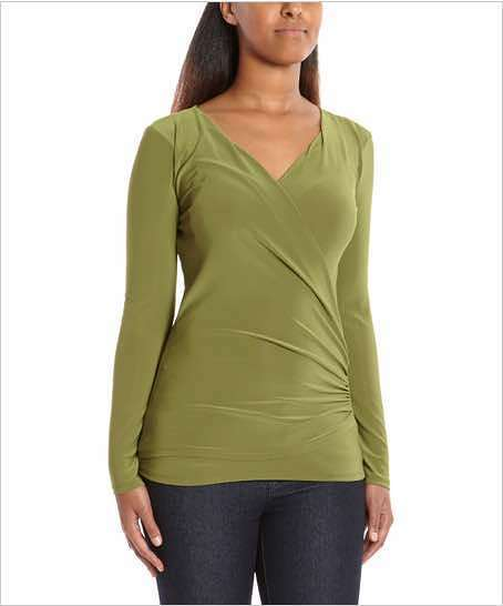 Green Ruched Surplice Top Only $12.99!