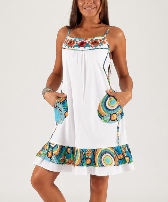 White & Blue Embroidered Shift Dress Only $34.99!