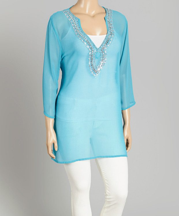 Turquoise Sheer Sequin Tunic - Plus Size Only $14.99