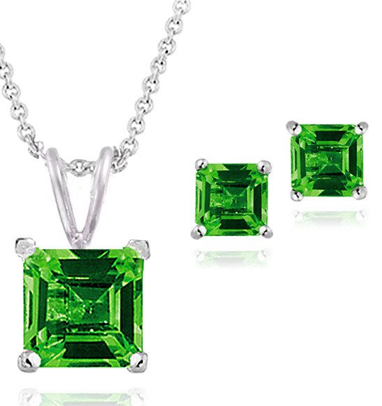 Emerald & Sterling Silver Square-Cut Necklace & Stud Earrings Only $18.99!