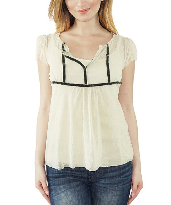 Green & White Sheer Cap-Sleeve Top & Camisole Only $7.99!