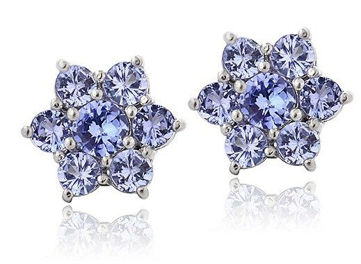 Tanzanite & Sterling Silver Flower Stud Earrings Only $28.99